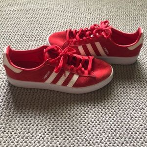 Red adidas campus sneakers
